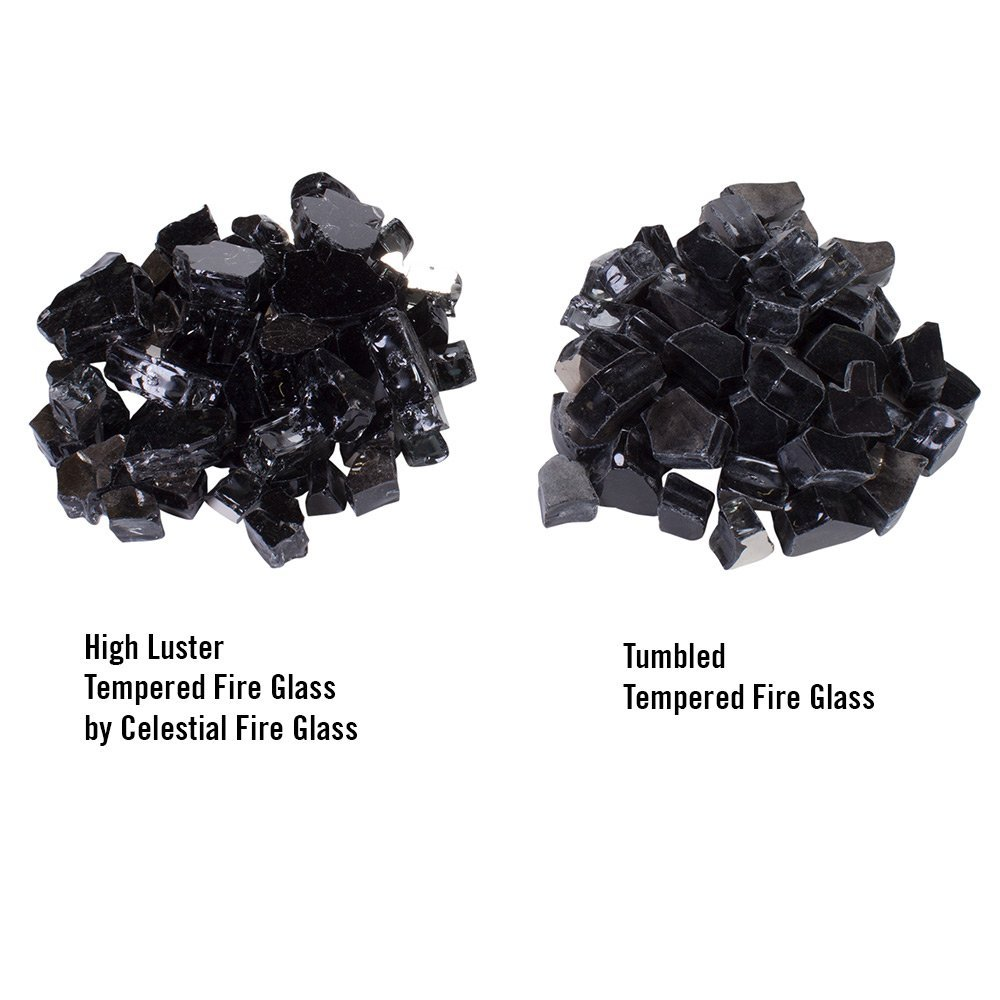 High Luster Fire Glass versus Tumbled Fire Glass